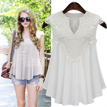 Women V-neck Hollow Out Lace Shirts Patchwork Chiffon Blouse Summer Top