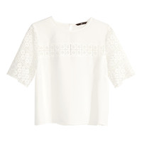 H&M - Lace Blouse - White - Ladies