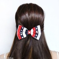 Hair Bow Clip American flag 4th of july USA United States America pride stars