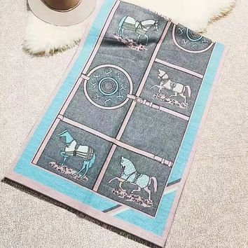 Hermes Autumn And Winter Women New Fashion Letter Horse Print Keep Warm Scarf