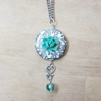 Teal Rose & Spotted Grey Shell Necklace