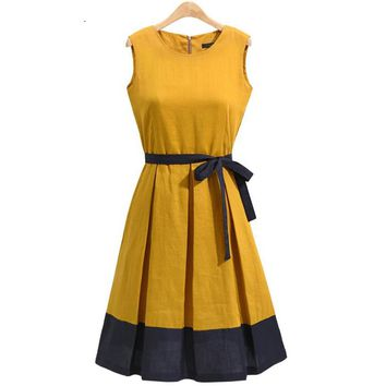 Woman Summer Pleated Casual Yellow Green  Office Workwear Dress