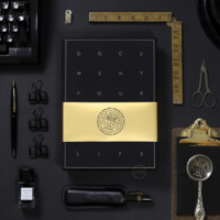 Black Gold Note Book Stationery Gift Set