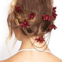 Draped Chain Floral Hairclips