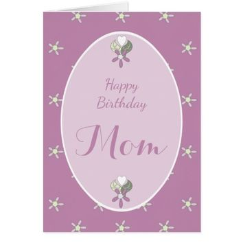 Birthday Card for Mom purple shabby chic