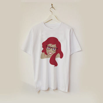 Ariel Hipster (wearing glasses) the little mermaid T-shirt unisex adults USA