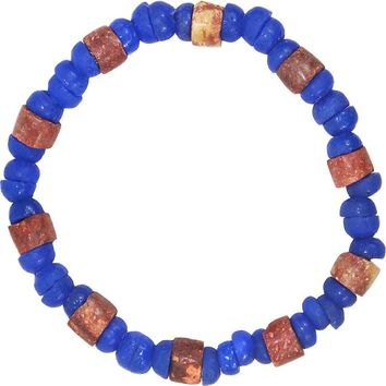 Down to Earth Recycled Glass Bead Bracelet Blue