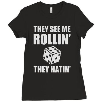 they see me rollin they hatin Ladies Fitted T-Shirt