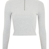 Zip Funnel Neck Long Sleeve Top - VINYL SHINER - We Love