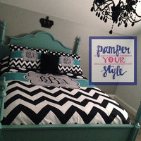 Dot and Chevron Comforter or Duvet - Custom Teal and Black Bedding, Custom Duvet or Comforter - Dorm Bedding - College Bedding - Makeover