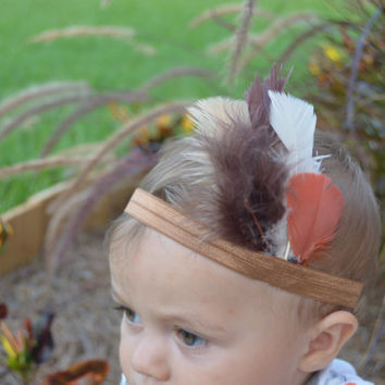 Feathered Indian Themed  Headband/ Boho Headband (Infant-Adult) Customize colors.