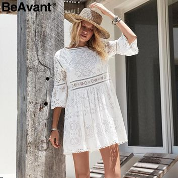 BeAvant Flare sleeve lace white dress women Hollow out 2018 spring summer dress streetwear Elegant embroidered sexy dress female