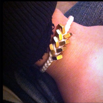 White and Gold Hex Nut Bracelet