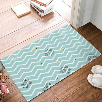 Autumn Fall welcome door mat doormat White Chevron Stripe Waves Mint Green Yellow Black Dot s Floor Bath Entrance Rug Mat Indoor Bathroom Kitchen  AT_76_7