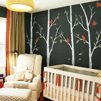 6 Birch Tree Wall Decals Sticker Set Large Tree With Birds Wall Stickers For Kids Room Baby Nursery Wall Tattoo Mural A399