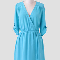 A Splendid Afternoon Faux Wrap Dress In Blue