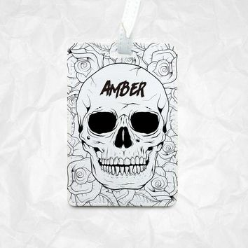 Halloween Skulls with floral as Halloween Gift with Personalized Name Monogram Printing, Luggage Tag, Bag Tag, Name Tag