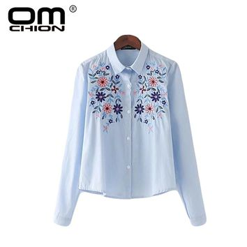 Casual Long Sleeve Floral Embroidery Elegant Striped Shirt