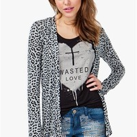 A'GACI Leopard Print Open Front Cardigan - CARDIGANS