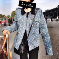 '' Louis Vuitton '' Fashion Distressed Denim Cardigan Jacket Coat
