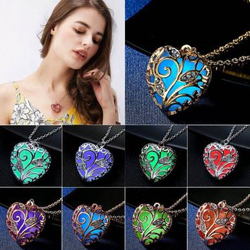 Magical Pretty Fairy Steampunk Glow In The Dark Heart Love Locket Pendant Necklace Luminous Jewelry For Women Necklaces Pendants