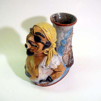 Vintage Ceramic Pirate Pitcher Decanter Jug Hand Painted Brevettato Signed Italy Capodimonte