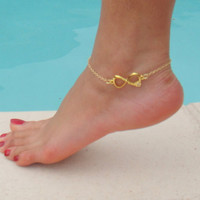 LOVE Anklet  Gold Plated Tiffany & co inspired by DeliBejeweled