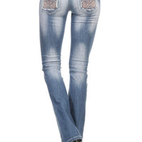 DENIM COUTURE- Boot Cut Broad Stitch Rhinestone Embellished Jeans