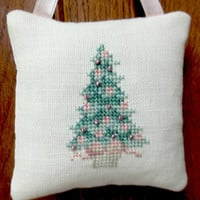 Cross Stitched Christmas Tree Ornament /Cottage Chic / Victorian / Hanging Pillow