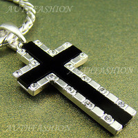 High-Q Silver Nano Injection Plated Mens Onyx Cross Pendant Chain Necklace 91S