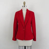 Vintage Red Blazer.. 70s Corduroy Cropped Jacket .. Size Small to Medium