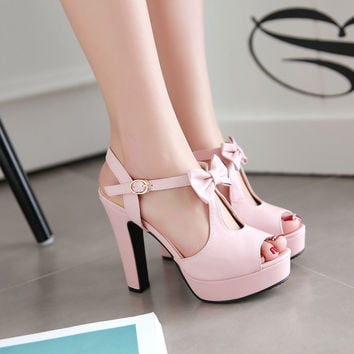 Cute Street Style Peep Toe Bow High Heel Sandals