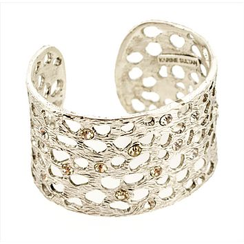 Intricate Cut-Out Cuff with Crystals in Silver