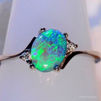 Genuine 925 Sterling Silver Ring Mystic Green Blue Earth Opal Diamond Jewelry Birthday Proposal Christmas Gift Bridal Engagement