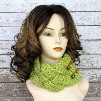 Lime Green Braided Crocheted Cowl, Womens Scarf, Crocheted Scarf, Winter Cowl