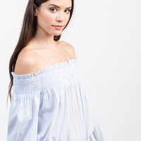 Playful Pin Striped Off-the-Shoulder Top