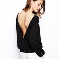 BA&SH Colchique Blouse with Chain Detail at Back - Noir