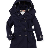 Burberry Cotton Twill Hooded Trench Coat, Navy, 4Y-10Y