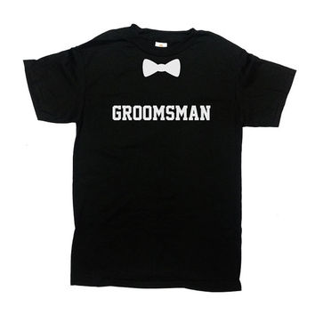 Groomsman Shirt Bow Tie T Shirt Groomsmen Shirt Wedding Party Stag Party Bachelor Party Shirt Funny Groom Best Man Shirt Mens Tee - SA335
