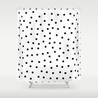 Shower Curtain - Black and White Polka Dots - Black and White Shower Curtain - Modern Shower Curtain - Black and White Home Decor - Gifts