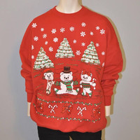 Vintage Ugly Tacky Christmas Sweatshirt Ice Skating Bears Size XL Red Holiday Sweater Retro Crewneck Snowflakes Funny 1980's or 1990's