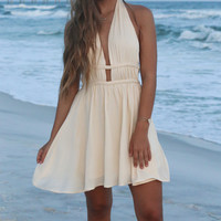 Montego Bay Ivory Halter Dress