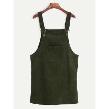 Corduroy Dungaree Dress With Pocket Army Green