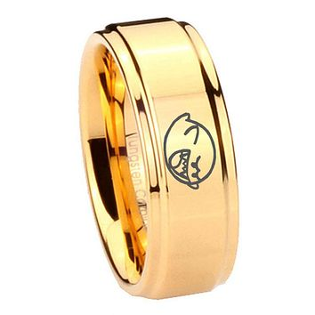 8MM Glossy Gold Step Edges Mario Boo Ghost Tungsten Carbide Laser Engraved Ring