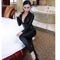 Womens Urban Black Zip Leather Jumpsuit