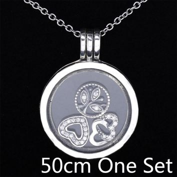 S925 Sterling Silver Necklace Love Heart & Family Petites Charm Locket Necklace For Women Wedding Gift fit Pandora Fine Jewelry