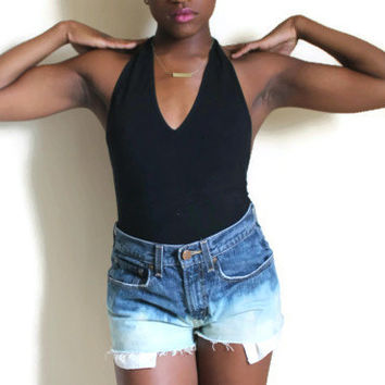 Vintage Upcycled Jean Shorts Levis 90s Ombre Extra Small Small  #21