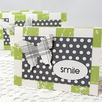 Set of Green and Grey Note Cards - Butterfly Note Cards - Set of 4 - Green Grunge Checked Note Cards - Polka Dot Note Cards - Smile Cards