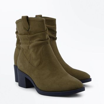Wide Fit Khaki Suedette Slouch Boots | New Look