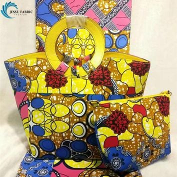 high quality SUPER WAX HOLLANDAIS WITH HAND BAG AFRICAN WAX PRINTS FABRIC DUTCH WAX FABRIC FOR SEWING 3 pieces / sets